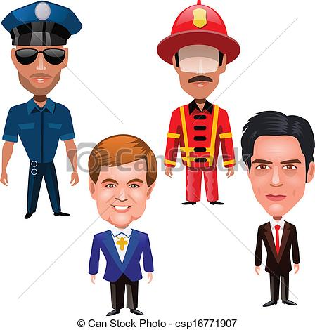 Vector Clipart of four men of different professions on a white.