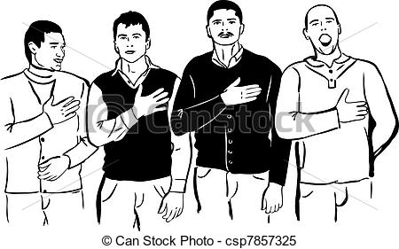 Clipart Vector of Four men listen and sing their national anthem.