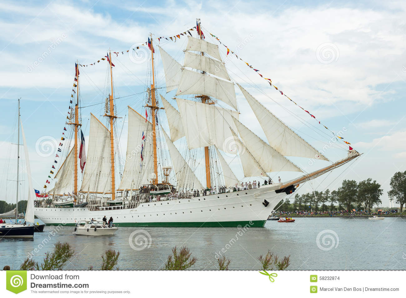 Four Masted Tall Ship Esmeralda Editorial Stock Image.