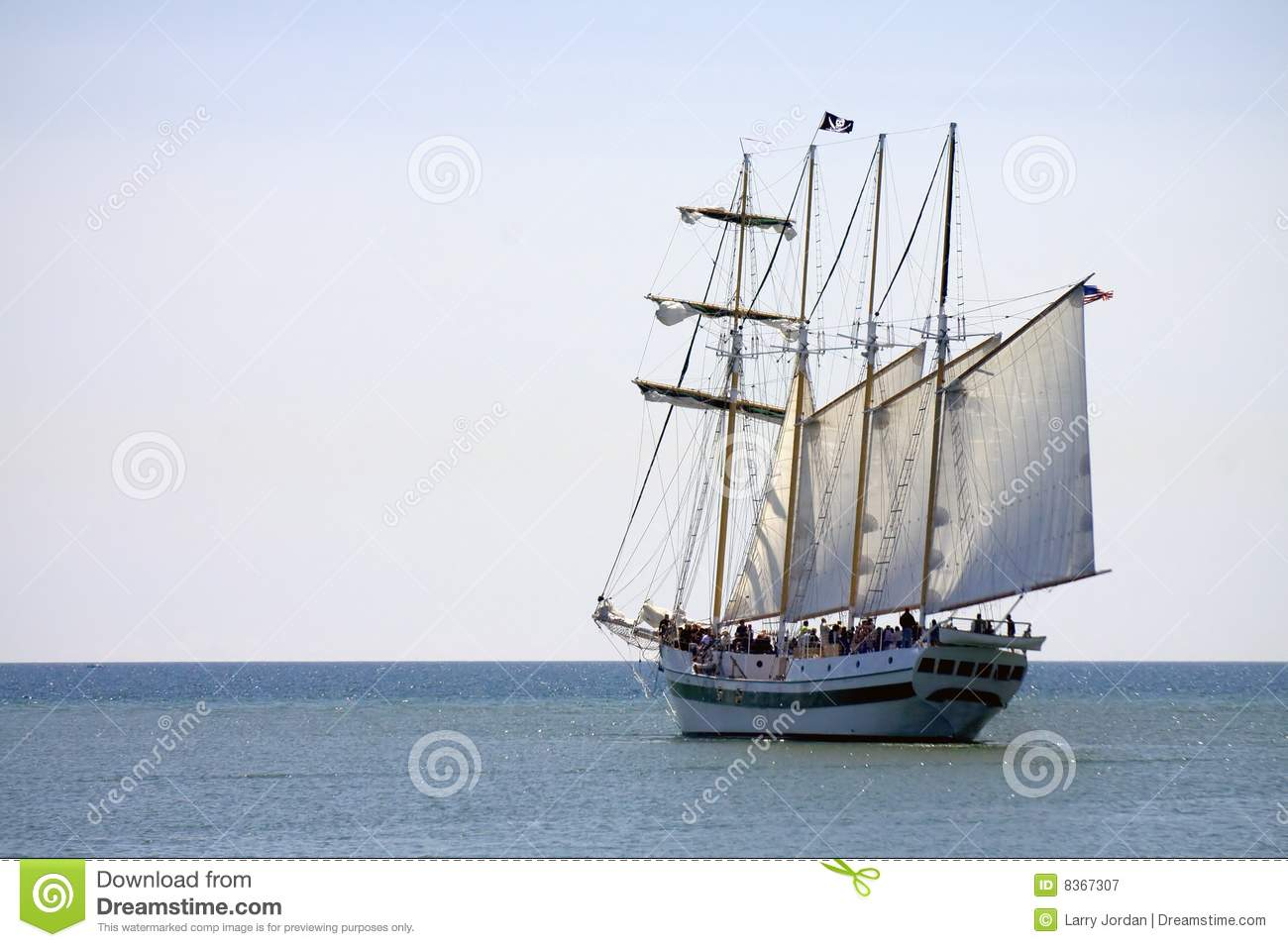 Four Mast Tall Pirate Ship Royalty Free Stock Photography.