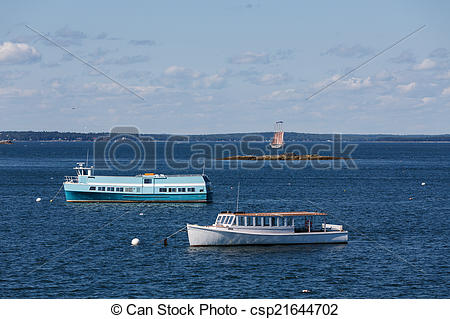 Stock Photography of Ferries and Schooner.