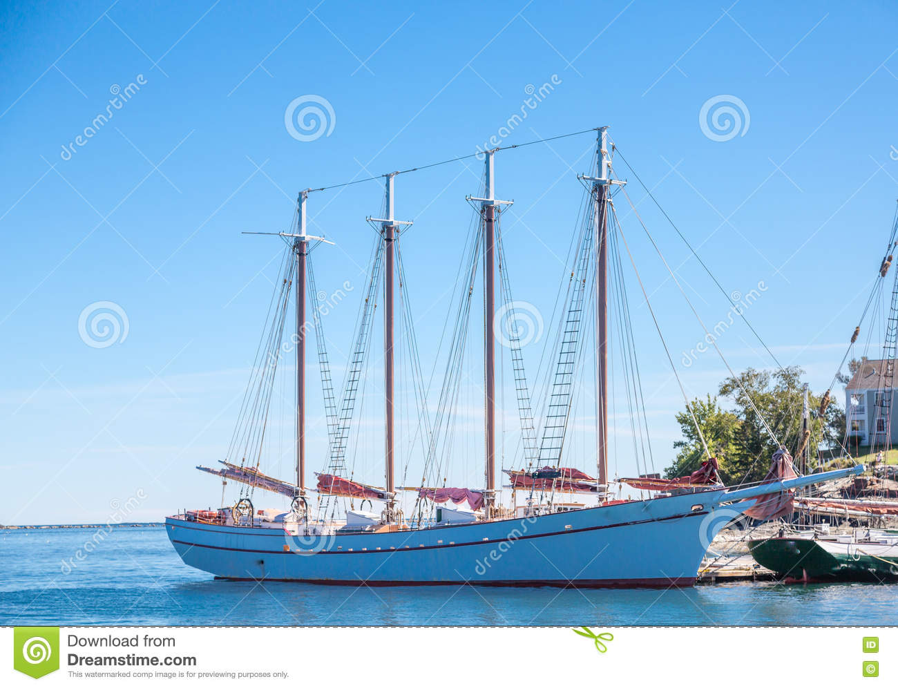 White Four Masted Schooner Stock Photo.