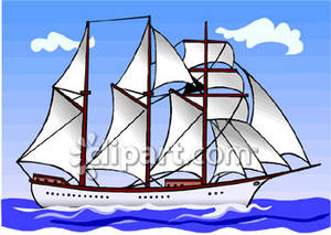 Masted Schooner Sailboat Clipart Illustration.