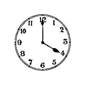 4 O'clock Clipart.
