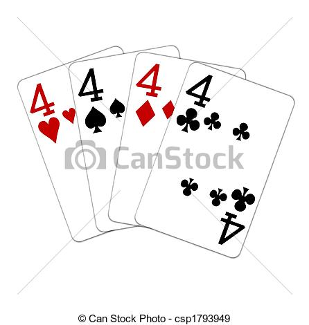 Stock Illustration of four of a kind fours csp1793949.