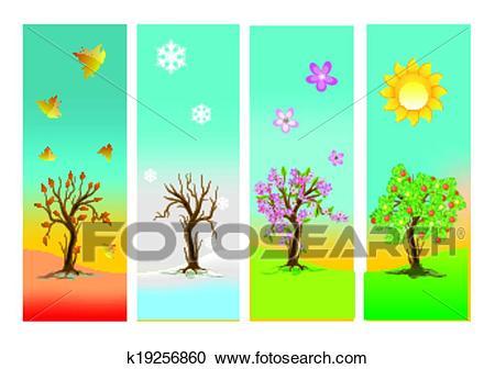 The four seasons, Clipart.
