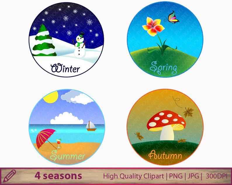 4 seasons clipart, winter spring summer autumn clip art, seasonal round  frames, scrapbooking, digital instant download, png jpg 300dpi.