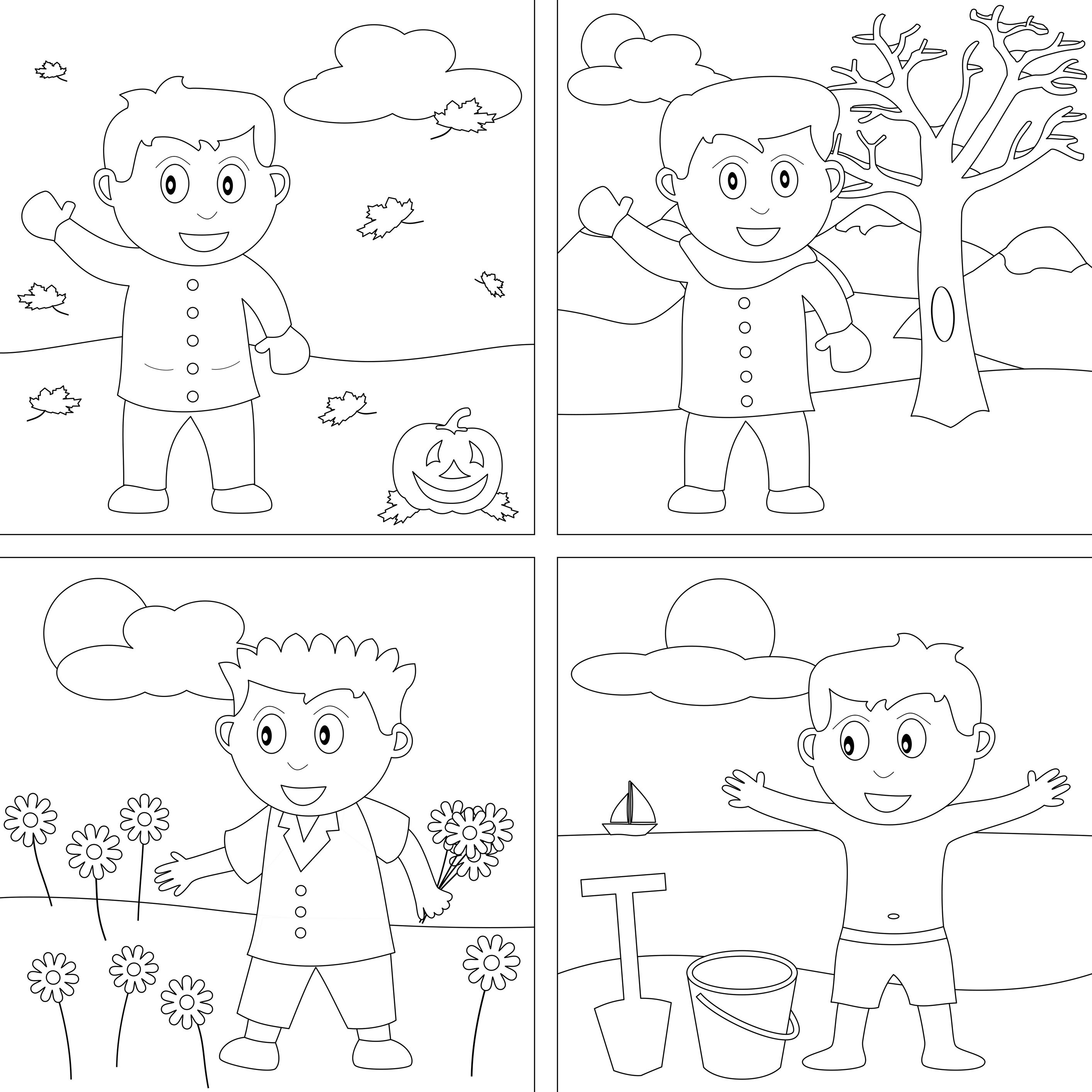 Four Seasons Coloring Pages For Kindergarten.