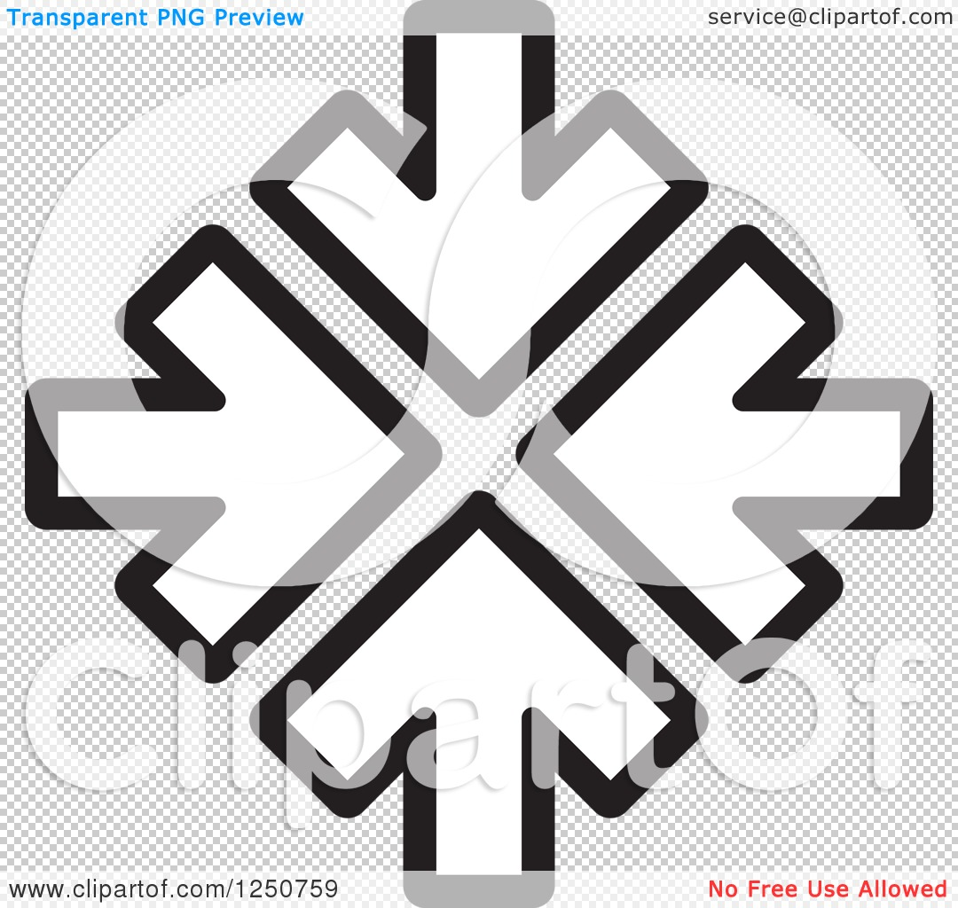 Clipart of Four Black and White Arrows Pointing at the Same Spot.