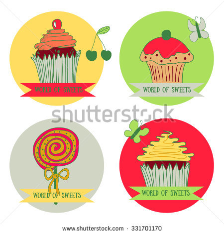 Set Of Four Spot Graphics Elements: Cupcakes And Lollipop With.