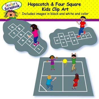 Hopscotch & Four Square Kids Clip Art.