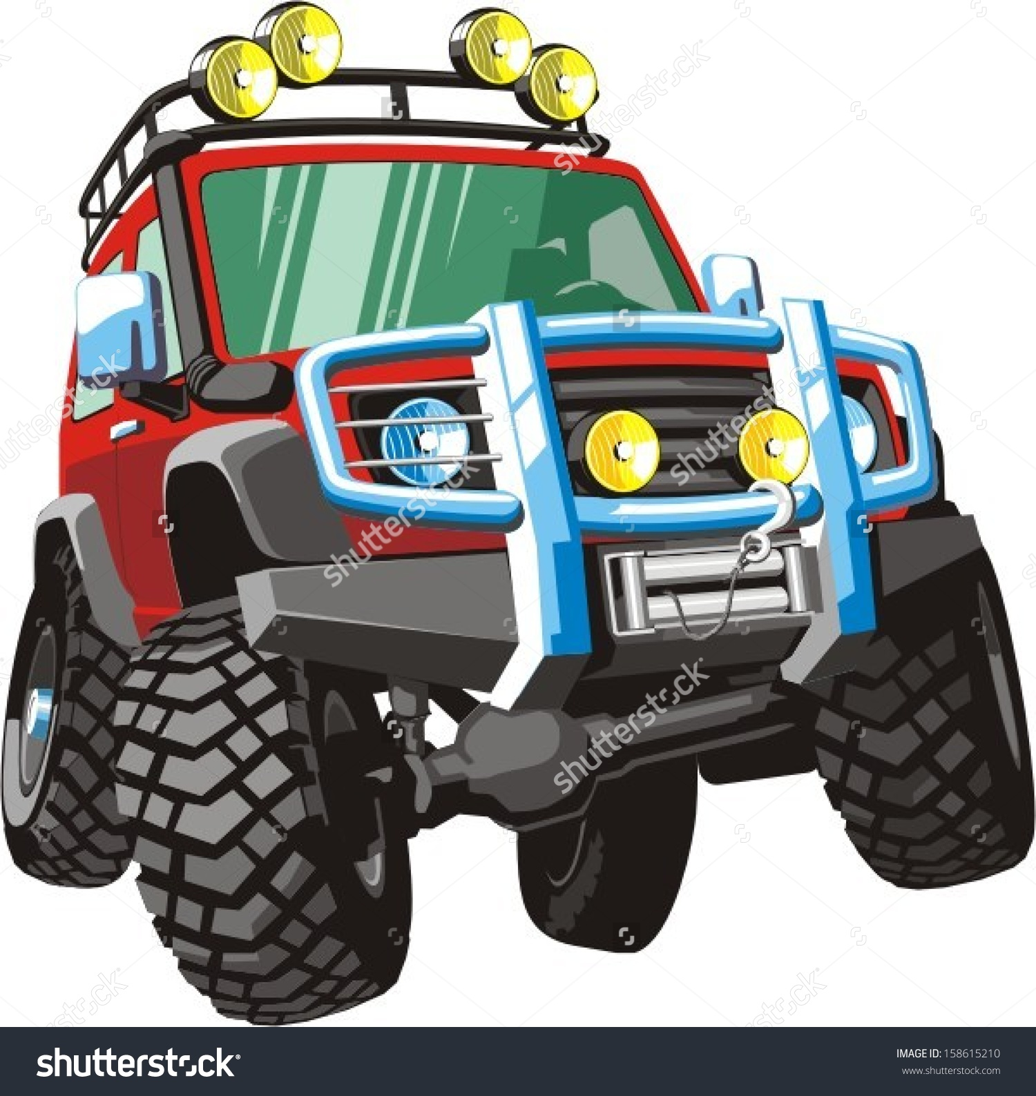 Fourwheel Drive Vehicle Heavy Traffic Conditions Stock Vector.