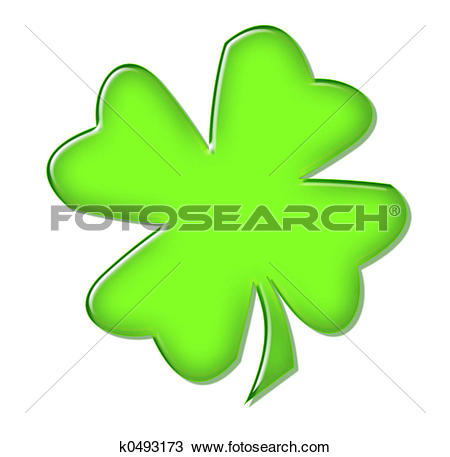 Drawing of Four Leaf Clover k0493173.