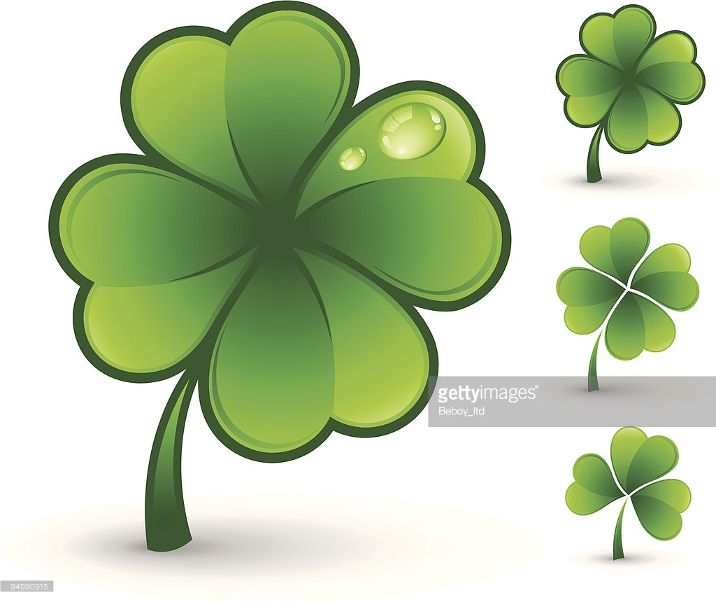 Clip Art Of Various Glenn Four Leaf Clovers Vector Art.