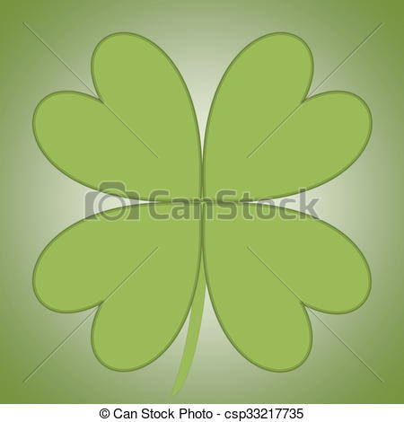 Drawings of Four leaves clover in green color background.