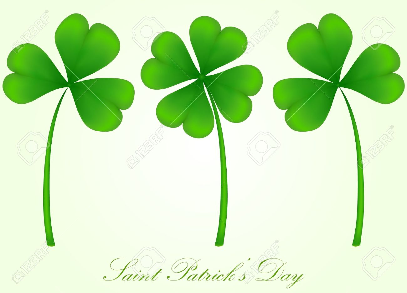Vector Set Of Three And Four Leaf Clover Royalty Free Cliparts.