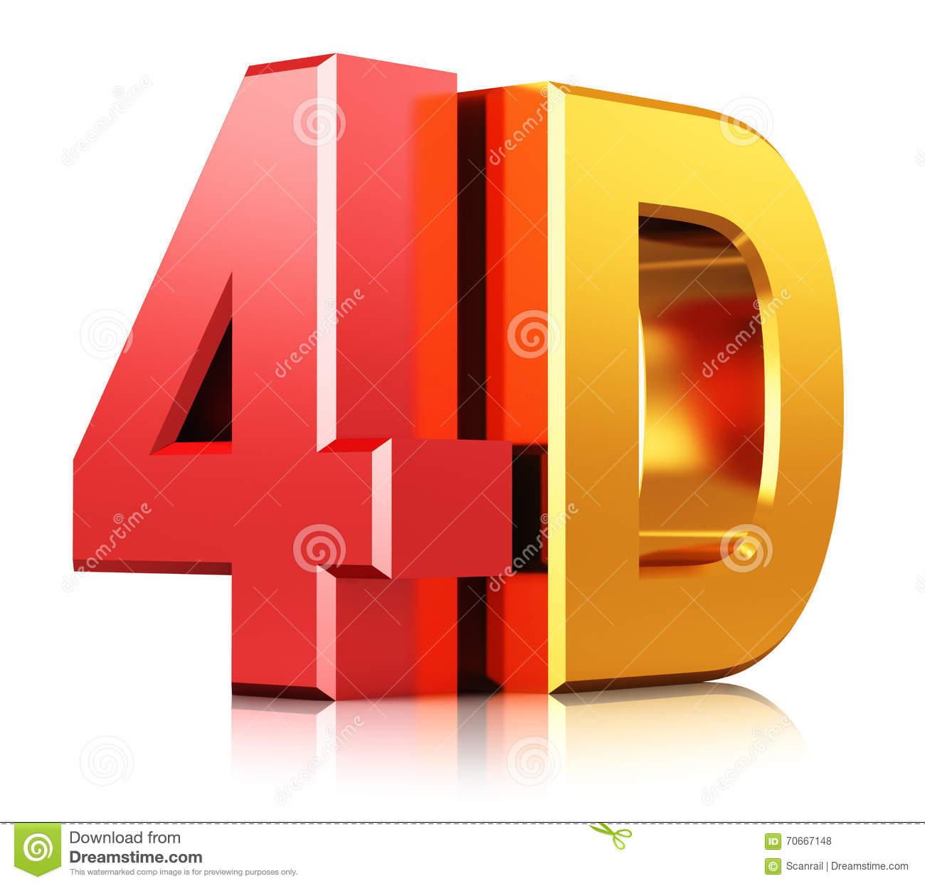 4D Cinema Technology Symbol Stock Illustration.