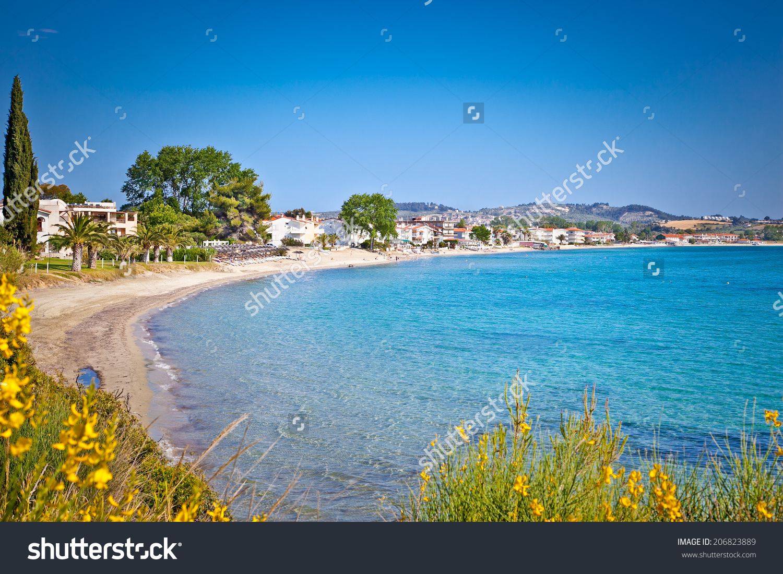 Paralia Fourkas Beach On Kassandra Peninsula Stock Photo 206823889.