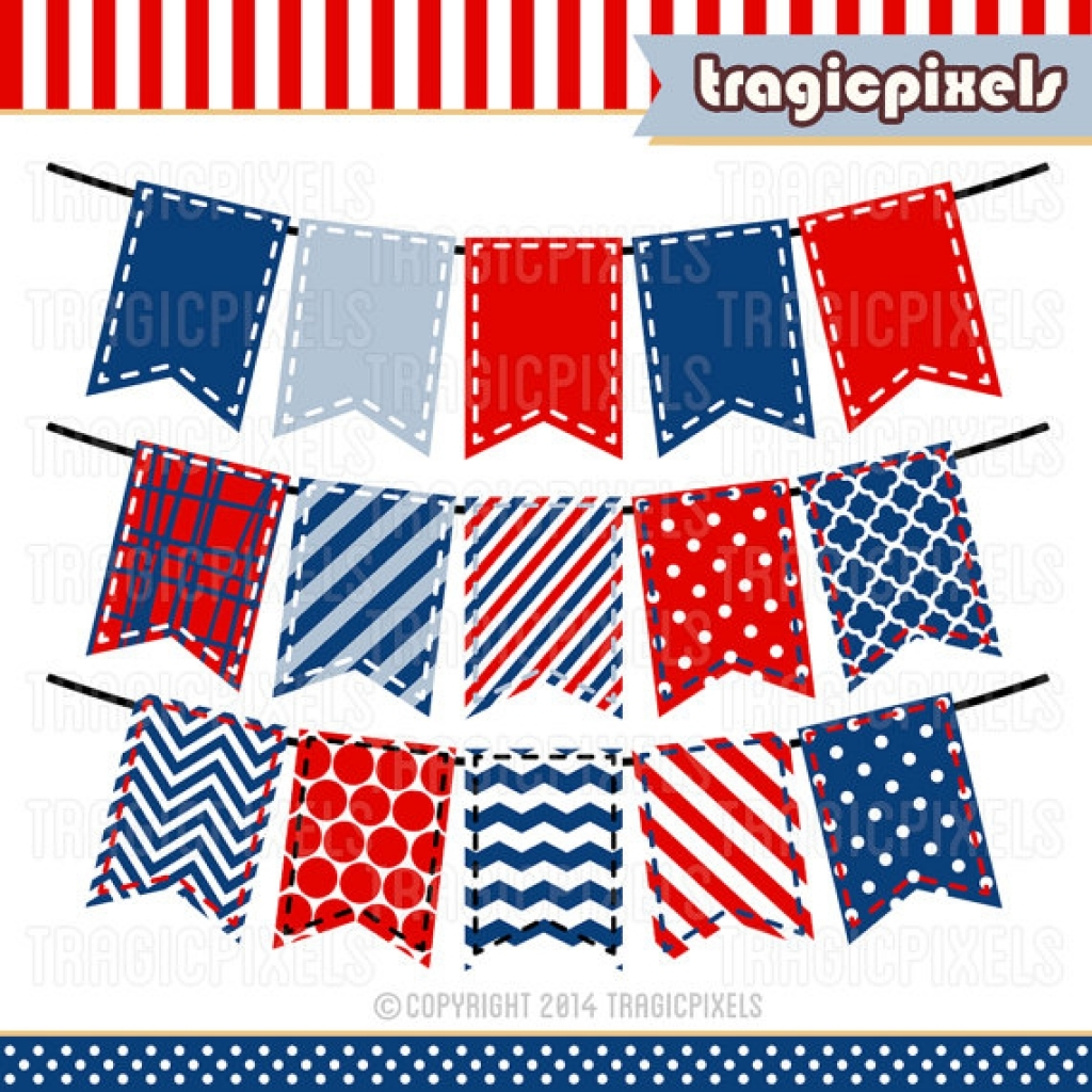 items similar to 4th of july stitched bunting banner clipart.