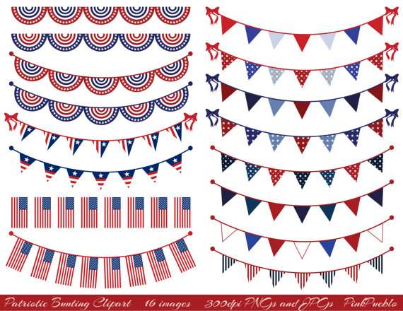 Patriotic Bunting Clipart Clip Art Fourth of July Flag.