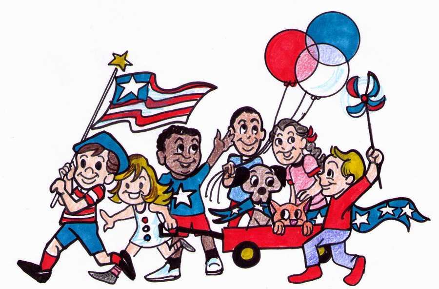 Download cartoon 4th of july parade clipart Independence Day Parade.
