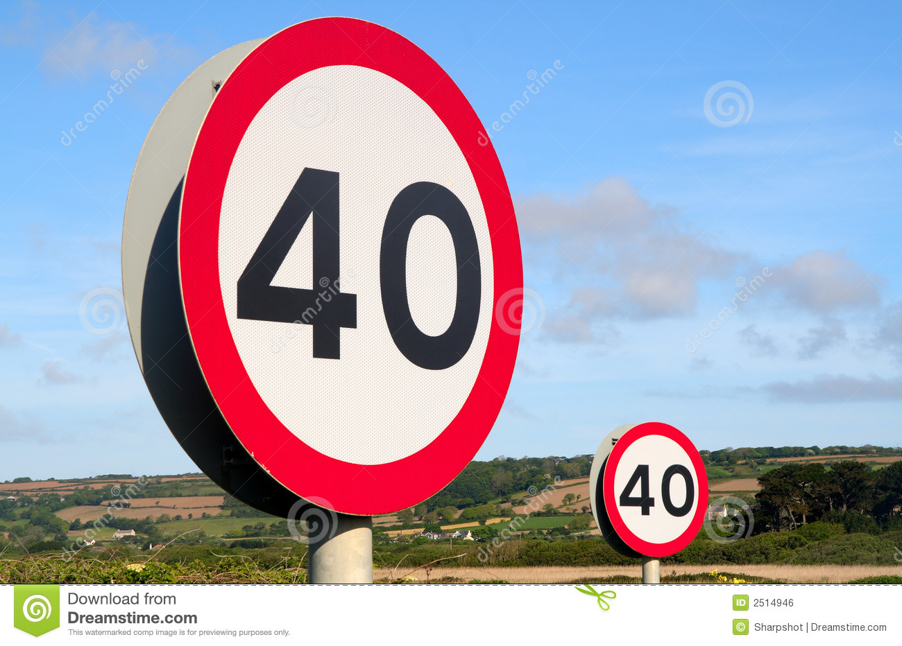 Two 40 Miles An Hour Signs. Stock Photos.
