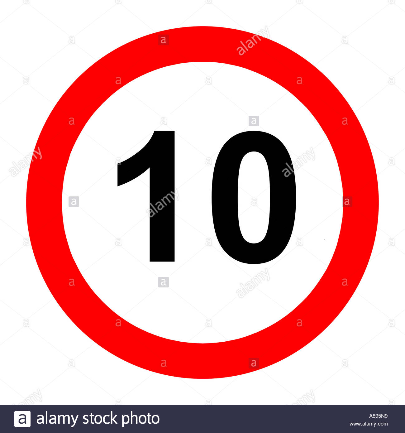 Ten (10) Miles Per Hour Speed Limit Road Sign On White Background.