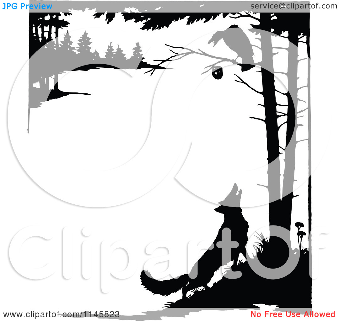 Clipart of a Retro Vintage Silhouetted Fox Looking up at a Crow in.