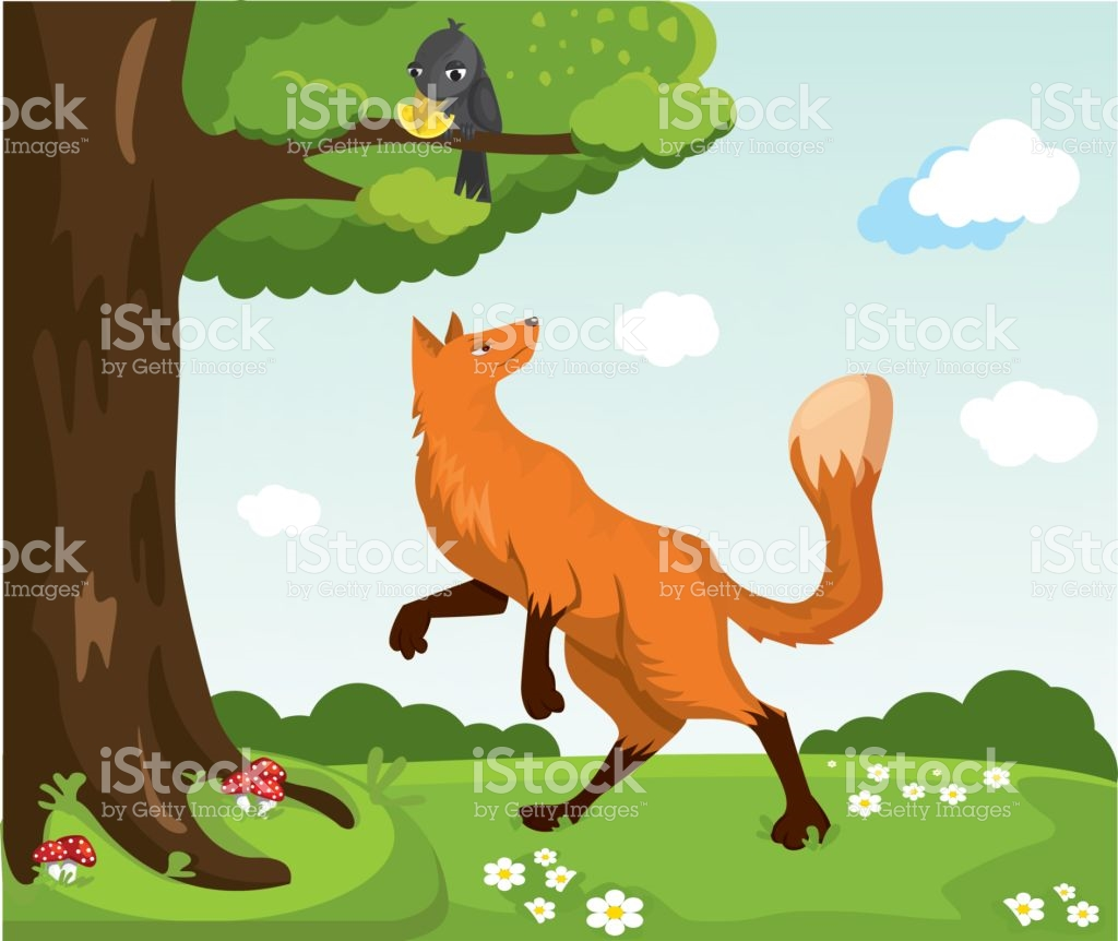 Red Fox And Crow With Cheese Funny Characters stock vector art.