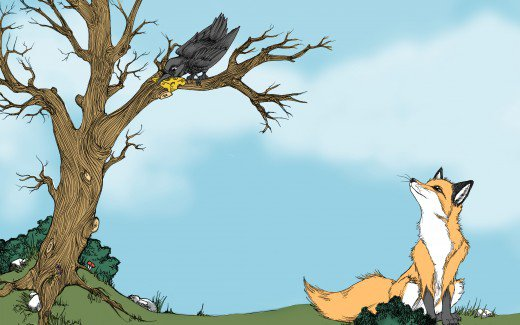 The Fox and the Crow: A Very Short Story for Kids with Pictures.