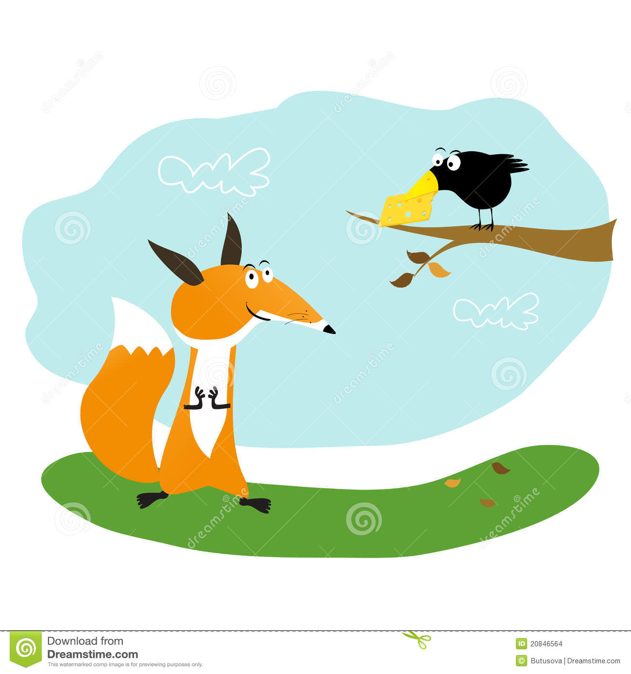 Fox and crow clipart.