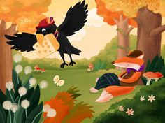 The crow, rabbit, and fox by kellaymarie.