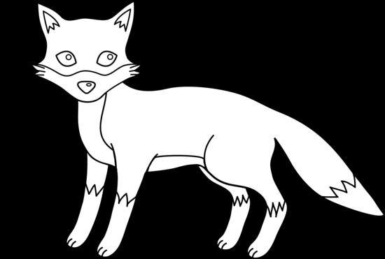 Cute fox black and white clipart kid.