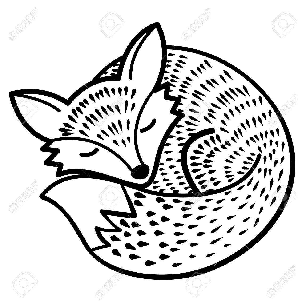 vector isolated fox. black and white.