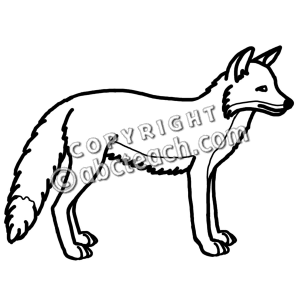 Fox Black And White Clipart.