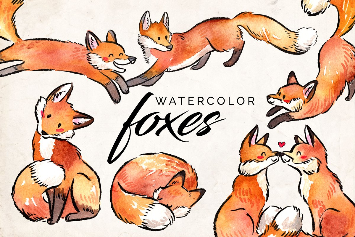 Watercolor Fox Clipart Set.