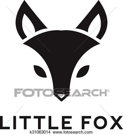 Vector minimalistic fox head logo Clipart.