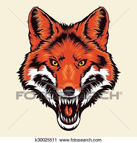 Angry fox head Clipart.