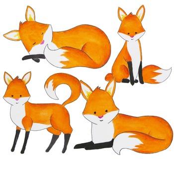 Watercolor fox clipart, foxes clipart, Red fox clip art.