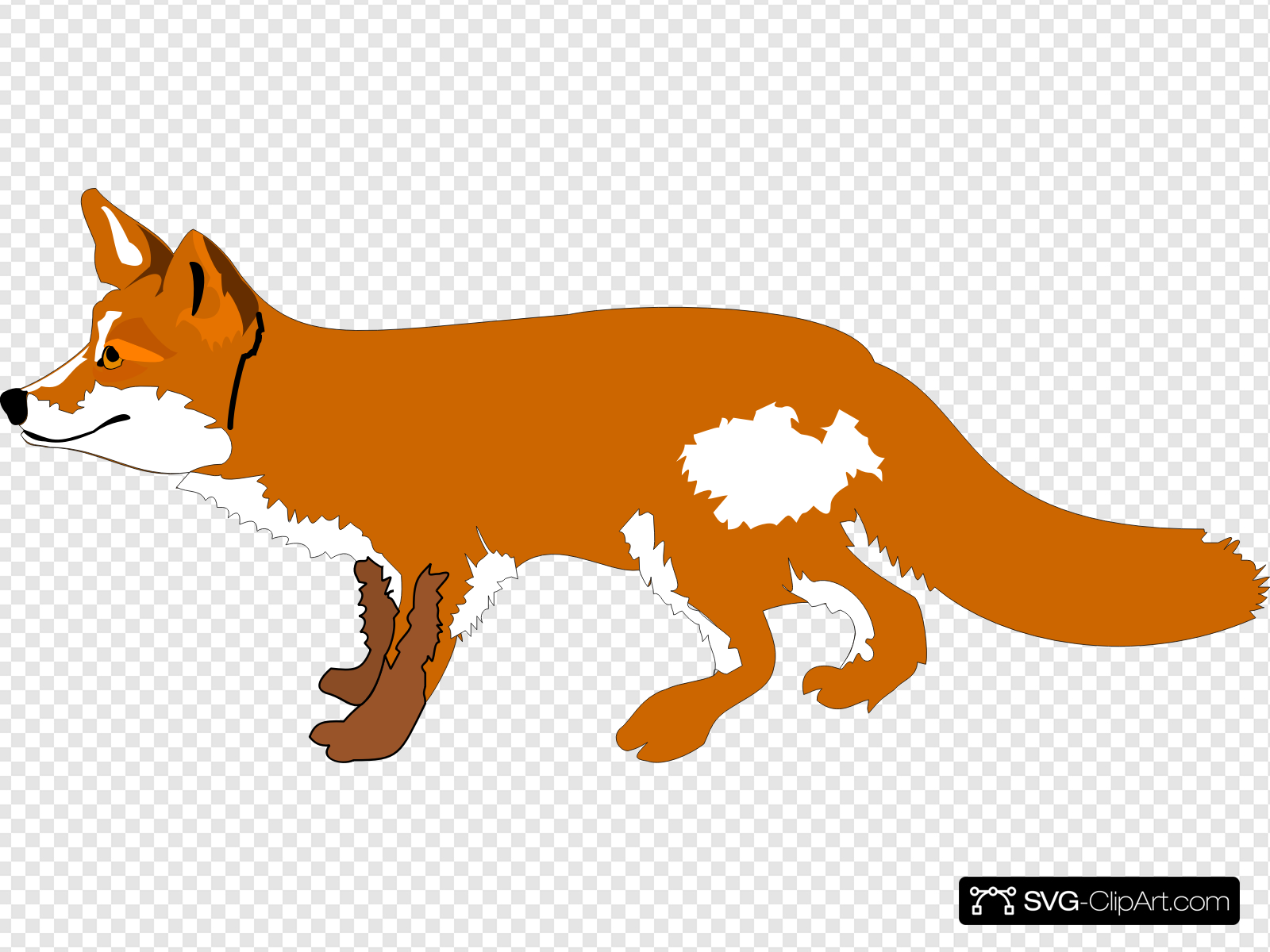 Fox Running Clip art, Icon and SVG.