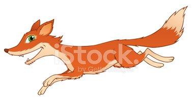 Running Fox Stock Vector.