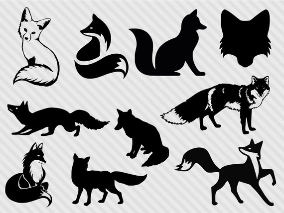 Fox svg bundle, fox clipart, fox silhouette svg, fox dxf, cut files.