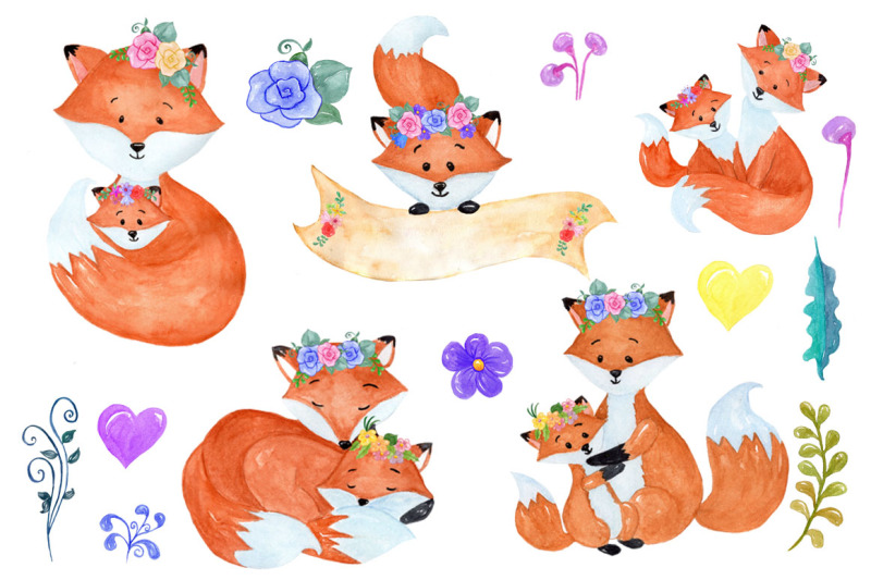 Watercolor Fox clipart By vivastarkids.