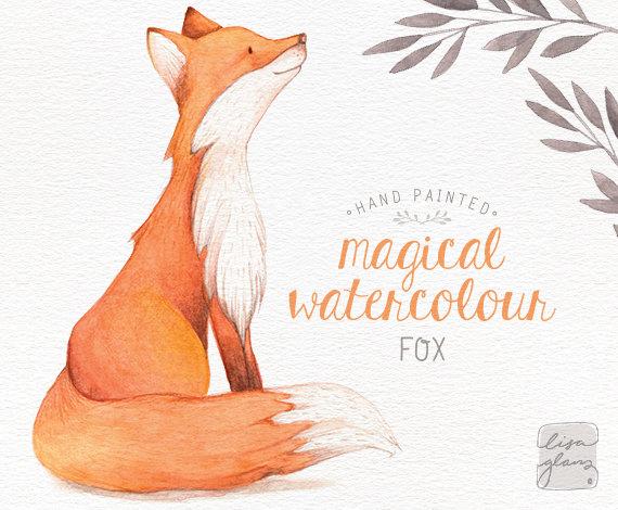 Watercolor fox: hand painted fox clipart / woodland nursery.