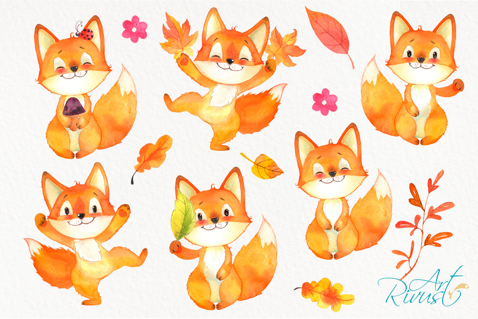 Watercolor Fall woodland Fox clipart pack By Rivus Art.