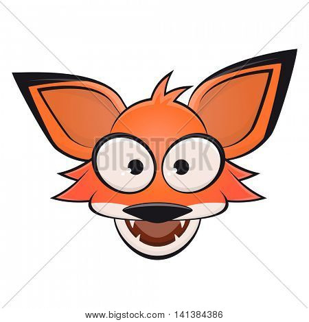 funny comic fox with open mouth clipart Stock Vector & Stock.