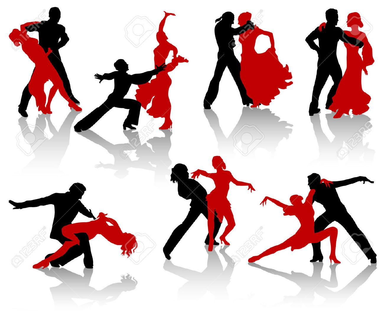 Silhouettes Of The Pairs Dancing Ballroom Dances. A Waltz, A.