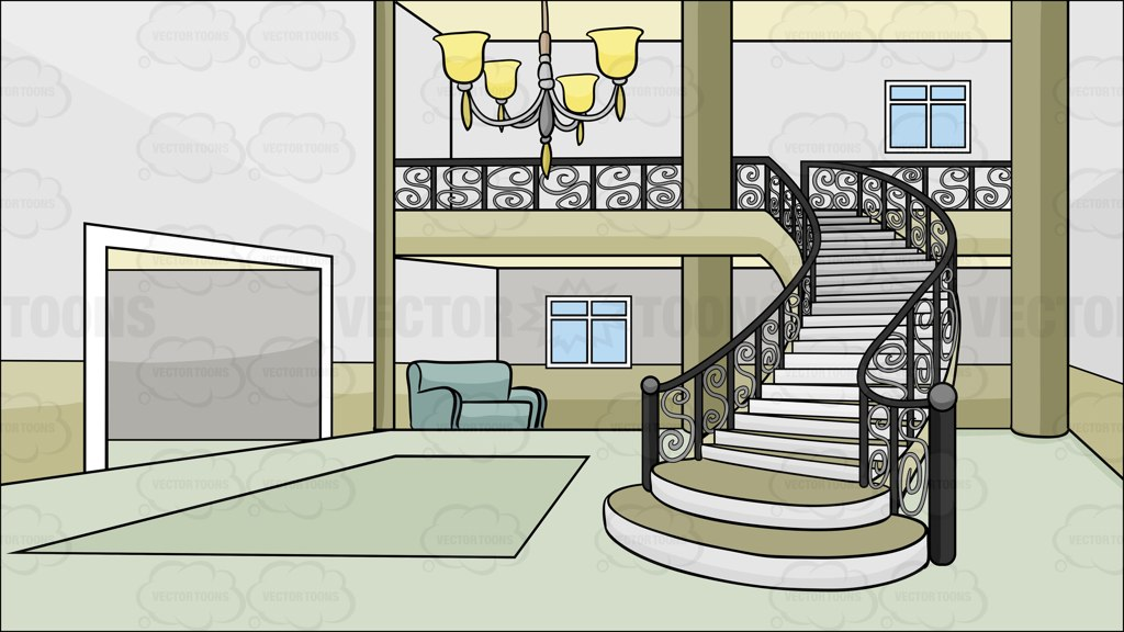 Hall And Stairs Clipart.