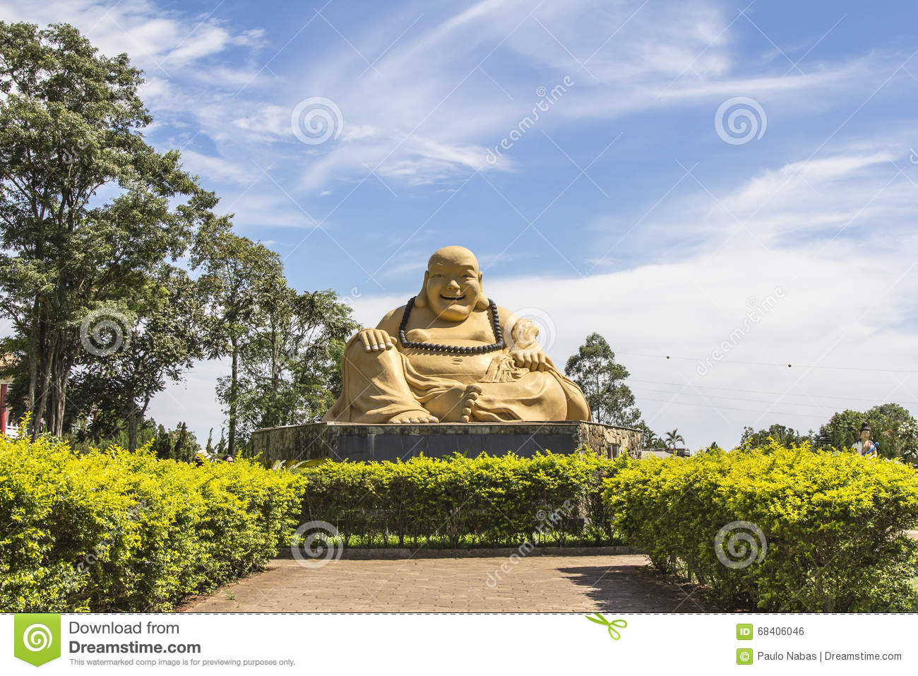 Giant Buda, Buddhist Temple, Foz Do Iguacu, Brazil. Stock Photo.