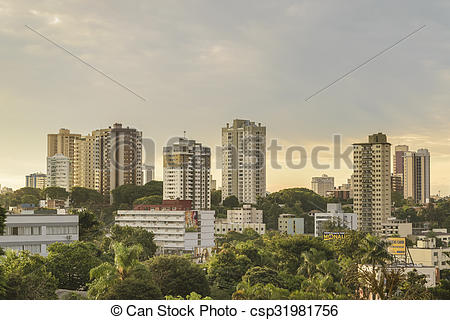 Stock Images of Foz Iguacu Urban Aerial View.